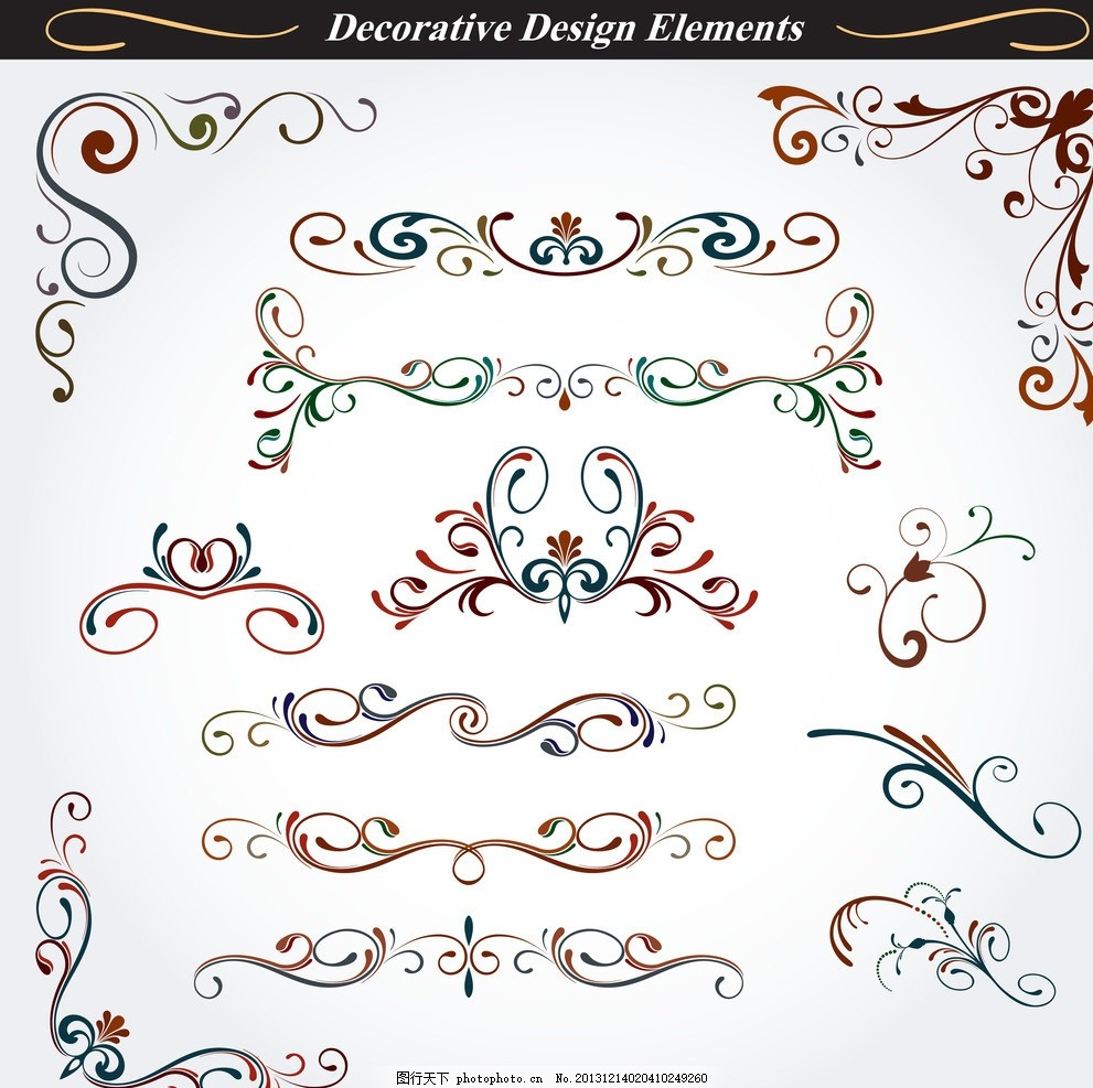 欧式花纹 手绘 线条 角花 植物花纹 花卉 民族装饰花纹 花纹标签