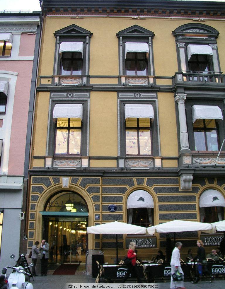 欧式店面老房子窗台图片