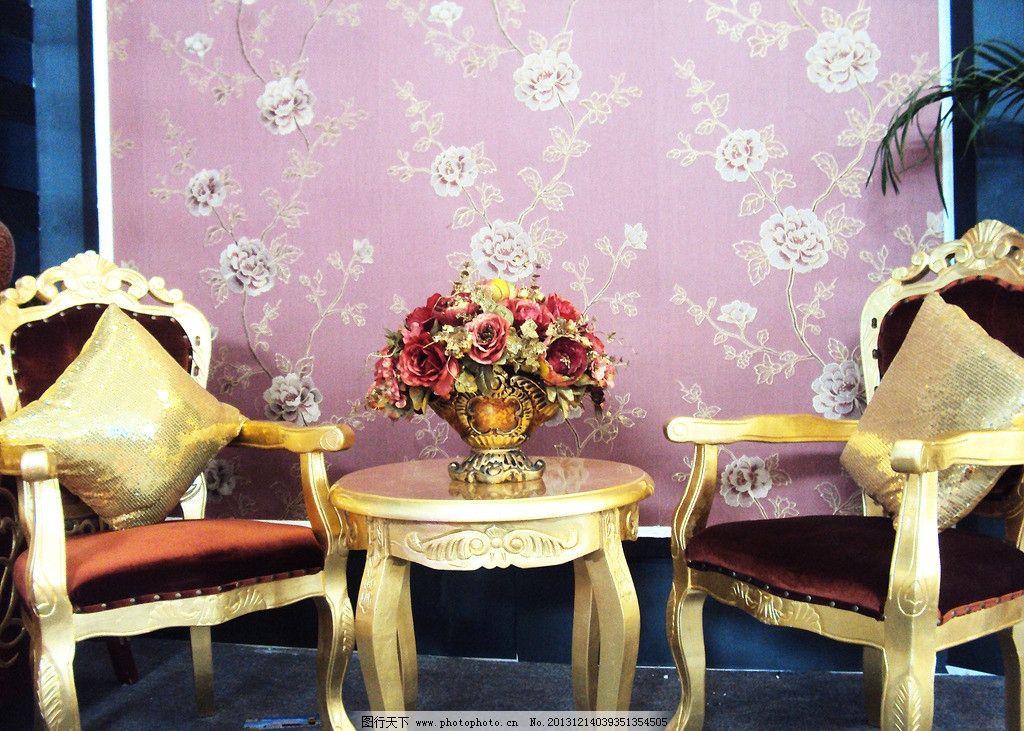 欧式家具 椅子 鲜花 桌子 室内摄影 建筑园林