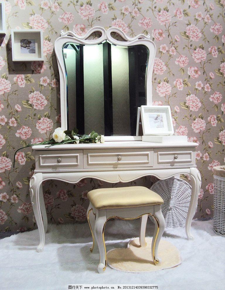 梳妆台 欧式家具 镜子 椅子 桌子 鲜花 相框 室内摄影 建筑园林 摄影