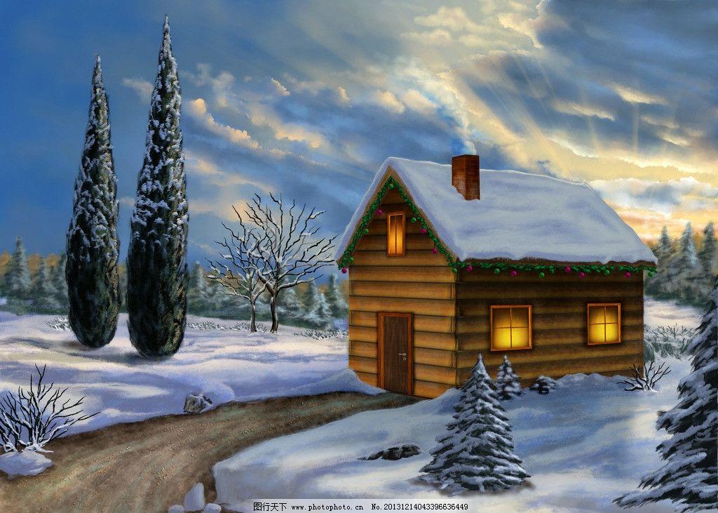 阳光房屋 大雪 树 小路 冬天 风景漫画 动漫动画