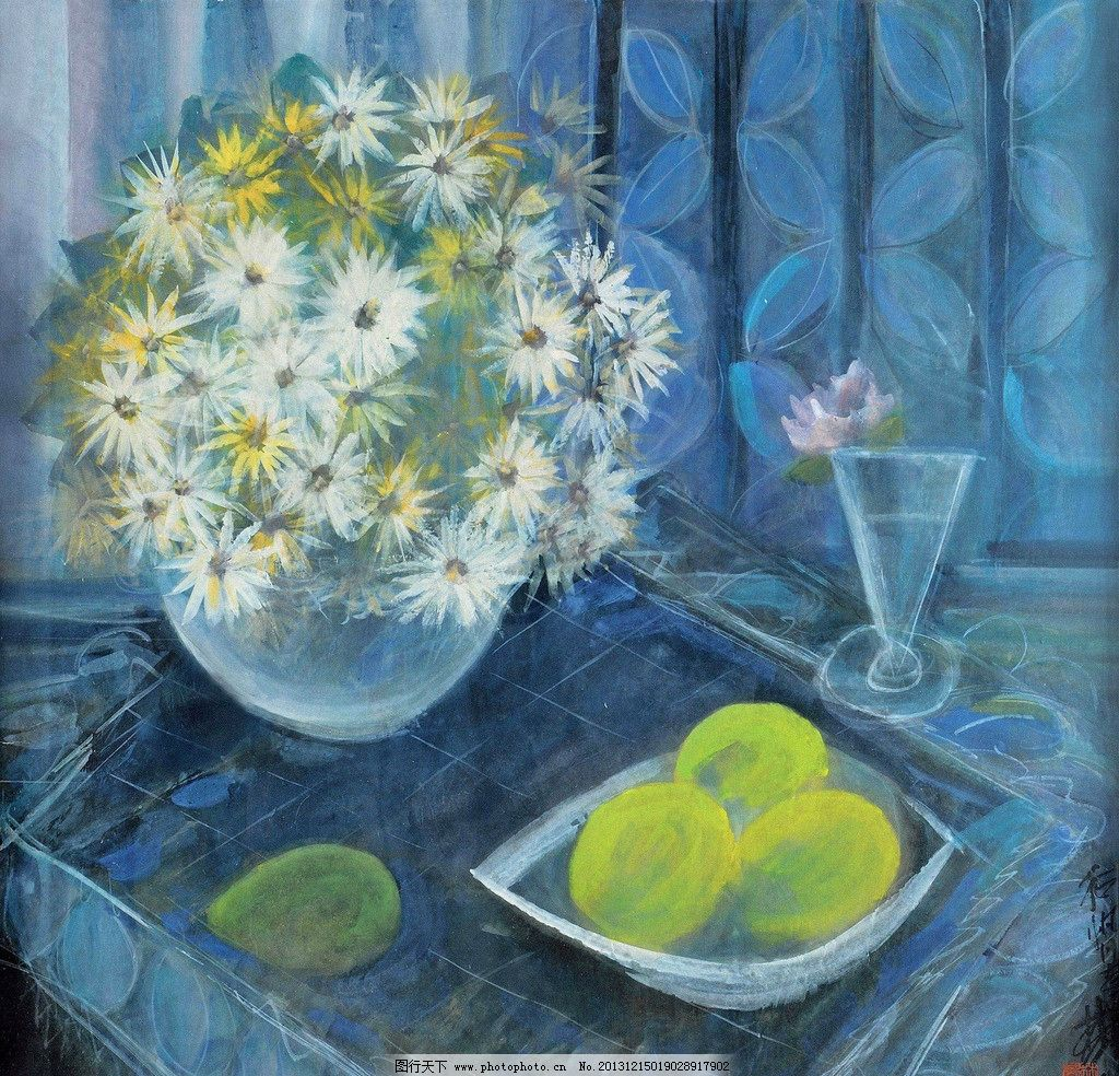 静物 油画 林风眠 菊花 花瓶 瓶花 香梨 写生 绘画书法 文化艺术