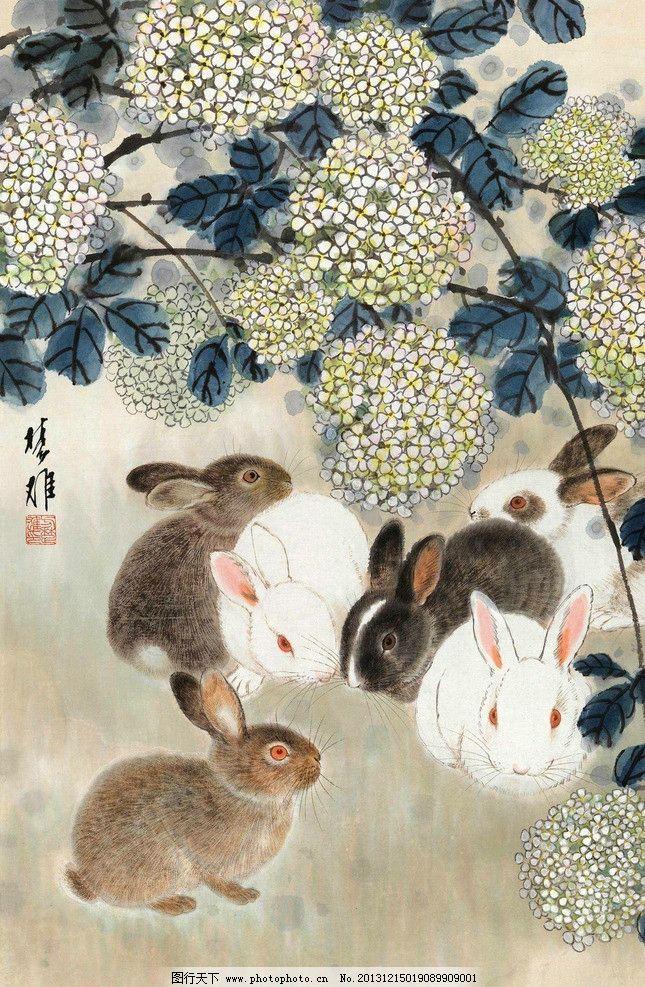 花香兔语 方楚雄 国画 兔 兔子 卯兔 花香 写意 水墨画 中国画 绘画