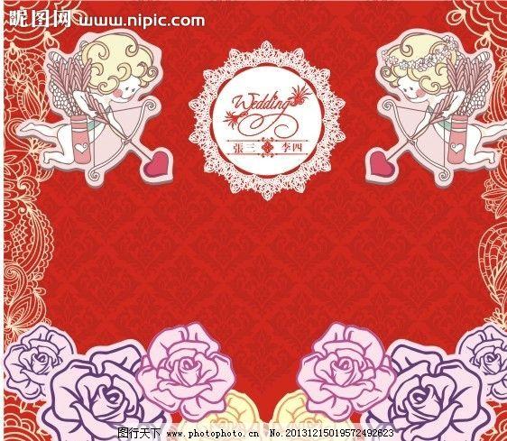 婚礼背景板 天使 舞台 玫瑰 蕾丝 欧式 时尚背景 其他 节日素材 矢量