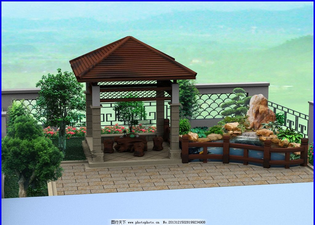 别墅花园 小景观 木栏杆 景观设计 别墅台花园效果图 景观亭 特色围墙
