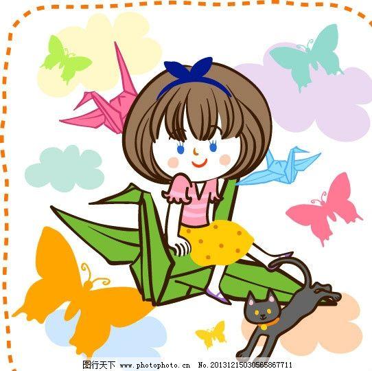 千纸鹤 儿童 折纸鹤 同学 女孩 卡通 童趣 梦幻儿童 梦幻乐园图片