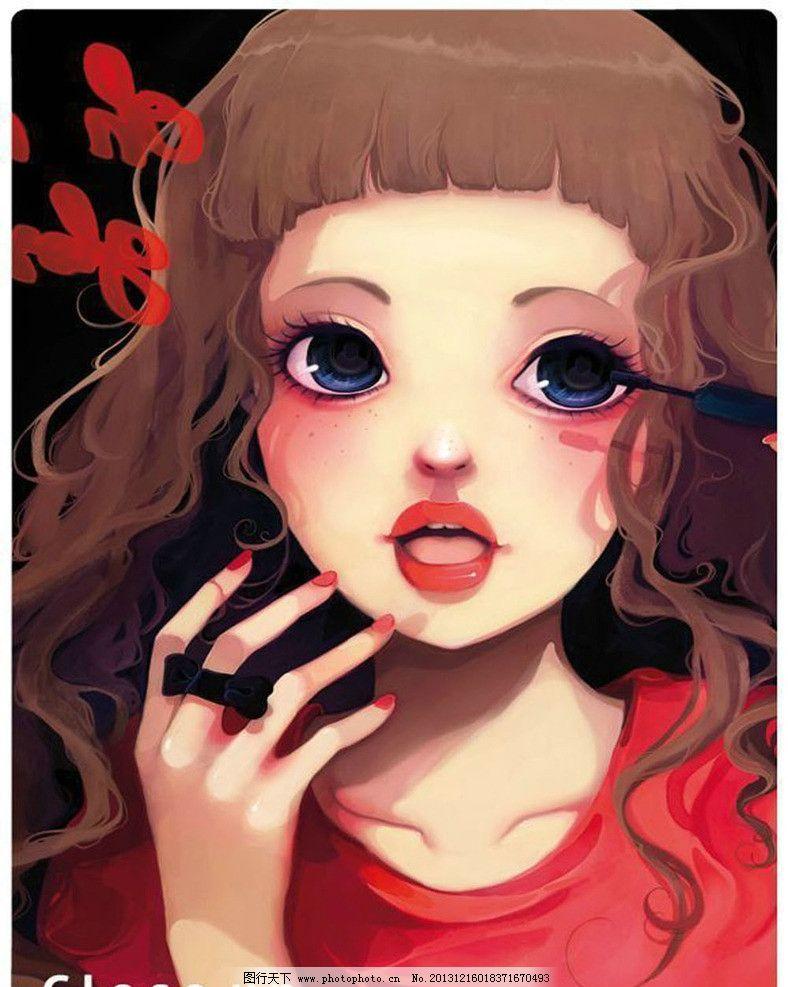 插画绘本 粉红女孩 大眼 红唇 手绘插画 动漫人物 动漫动画 设计 72