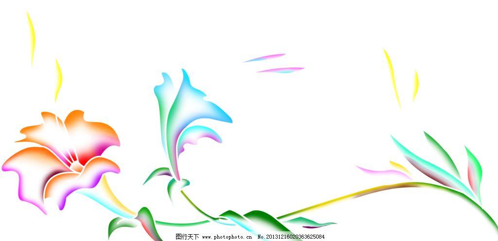 手绘百合 百合 百合移门 百合图案 粉百合 红百合 手绘花纹 精美花纹