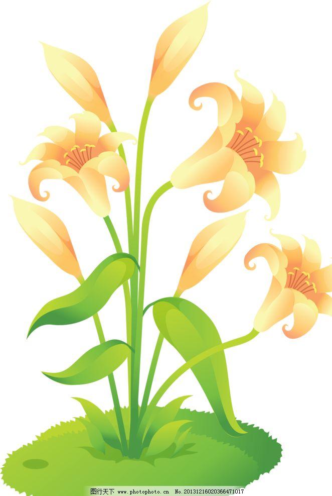百合图案 黄百合 手绘花纹 精美花纹 手绘花朵 移门花纹 欧式复古