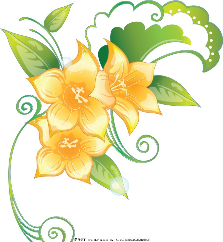 百合花纹 百合 百合花藤 百合移门 百合图案 黄百合 手绘花纹 精美