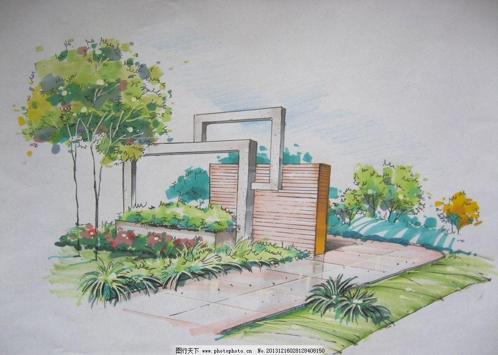 手绘 小品 景观 喷泉 景墙 景观设计 环境设计 设计 180dpi jpg