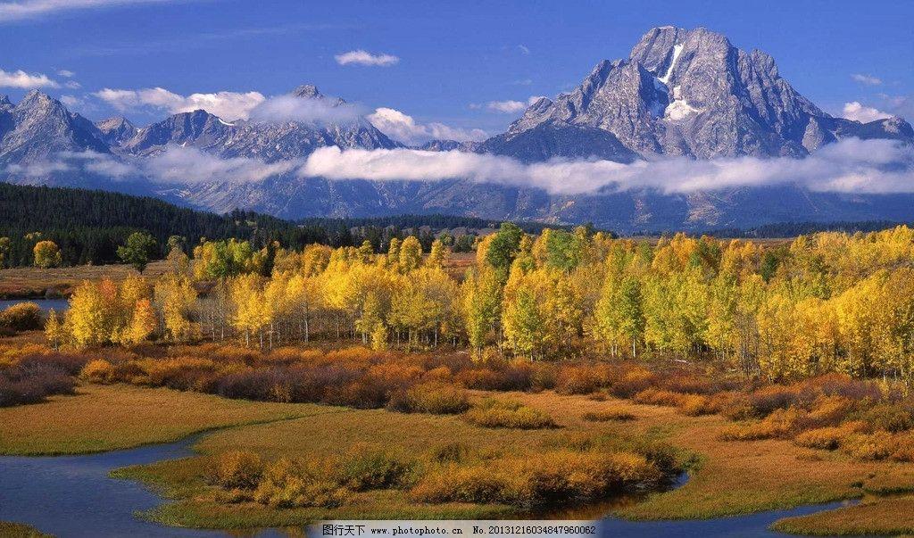 山水风景 树木 水草 溪流 云雾 高山 摄影
