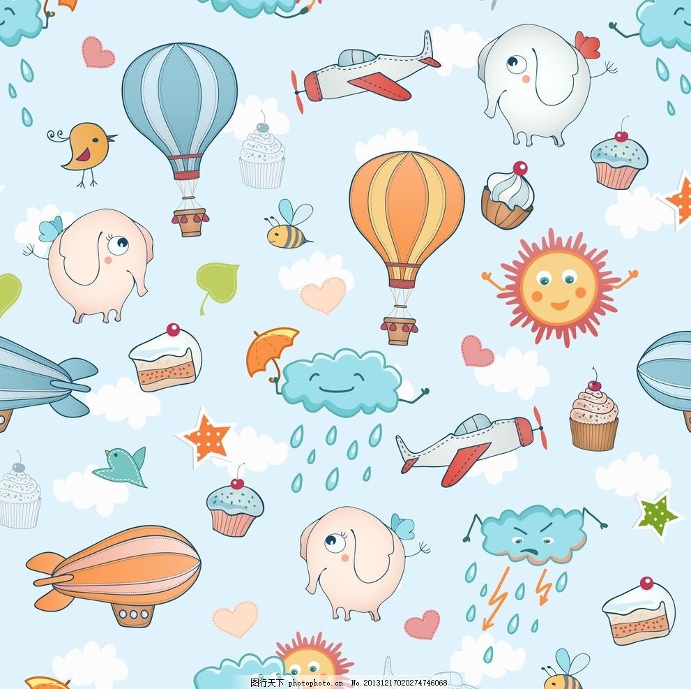 卡通背景,可爱卡通背景 手绘 云彩 阳光 大象 飞机-图