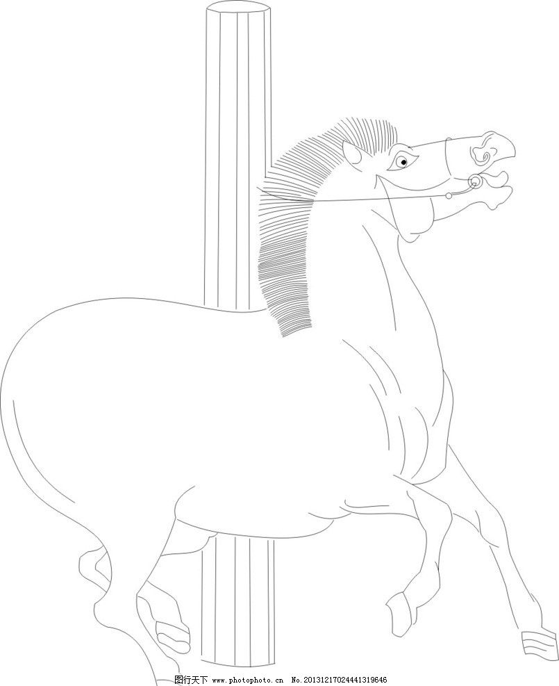 黑白线描画动物马