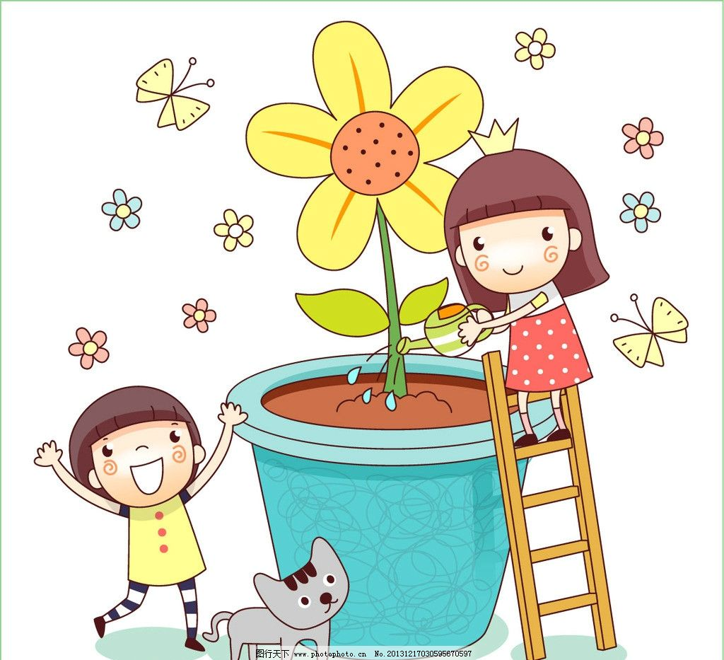 浇花 植树 女孩 学生 花瓶 鲜花 儿童 儿童乐园 卡通 卡通乐园 儿童图片
