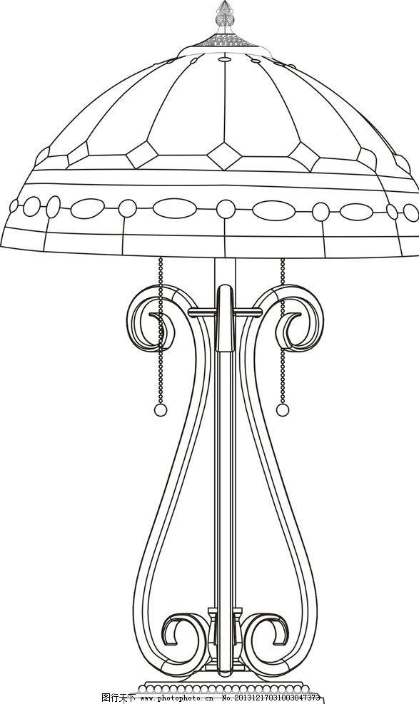 台灯产品手绘线稿