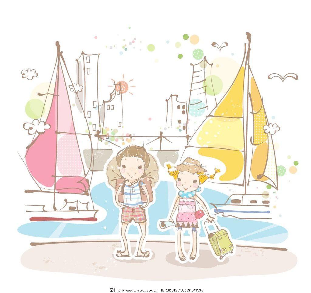 帆船 广告设计 海港 海水 卡通 港矢量素材 海港模板下载 海港 旅行