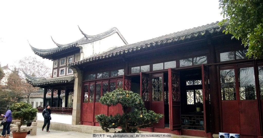 园林建筑 中式 古代 檐廊 苏州园林 留园 房子 建筑园林 摄影