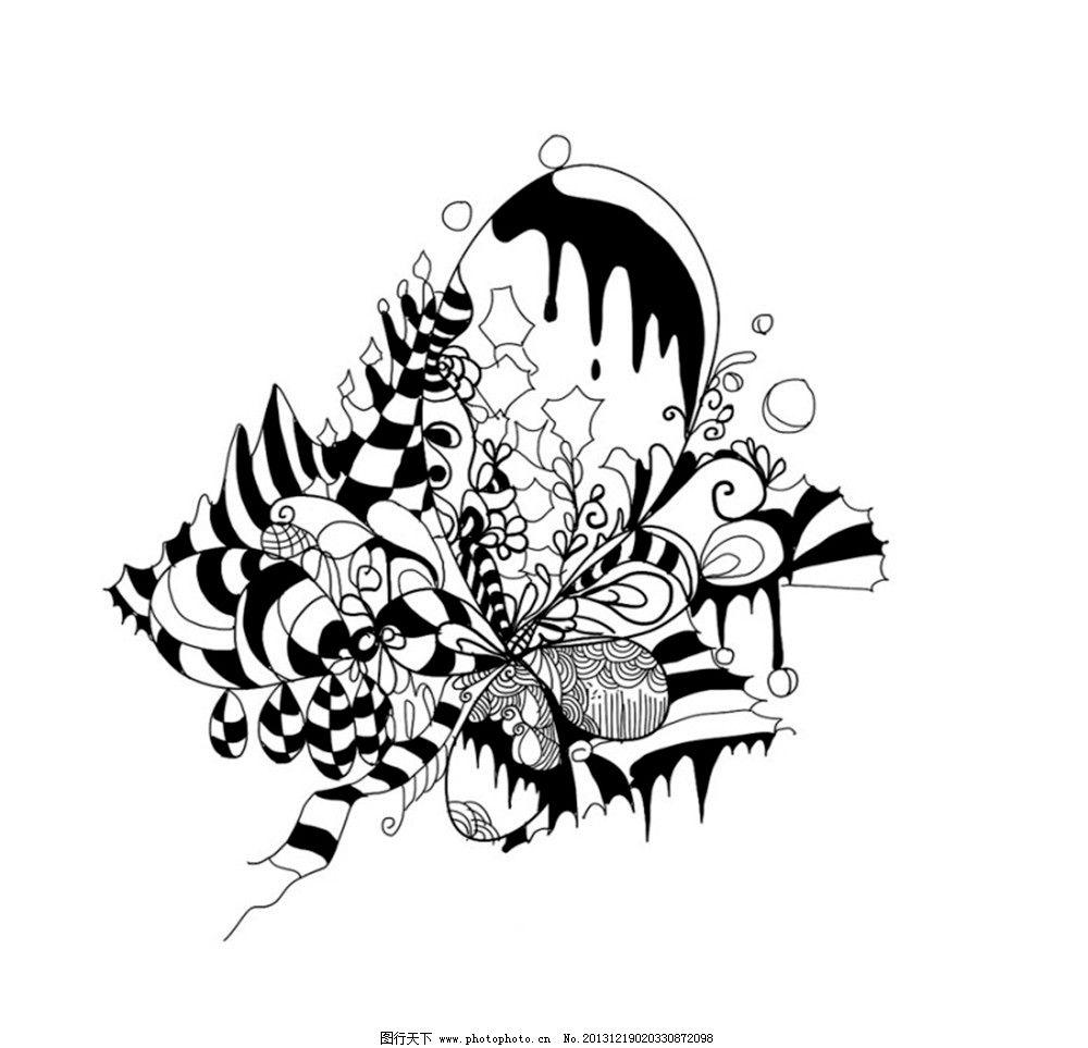 黑白插画 设计 插画 平面 黑白 线条 花簇 花边花纹 底纹边框 96dpi