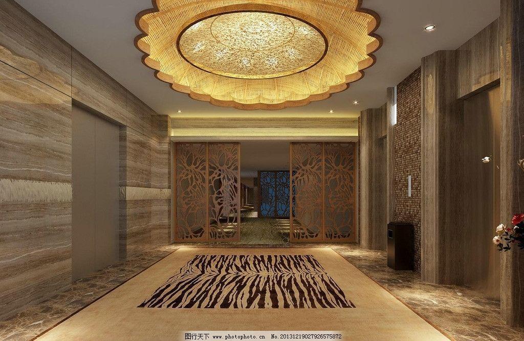 酒店电梯口 酒店设计 酒店效果图 室内设计 佐泽装饰 酒店装修效果图