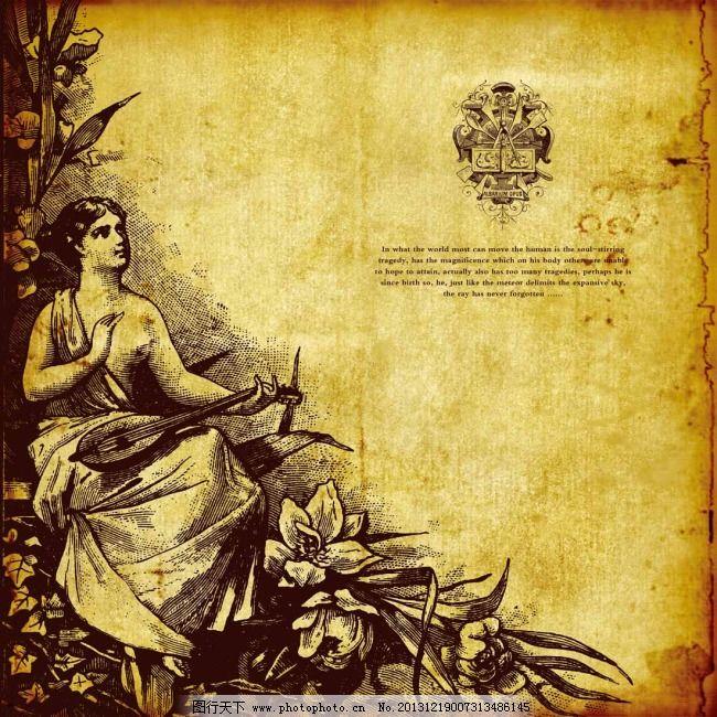 羊皮卷 羊皮卷图片免费下载 复古 欧式海报 羊皮纸 女人雕塑 其他海报