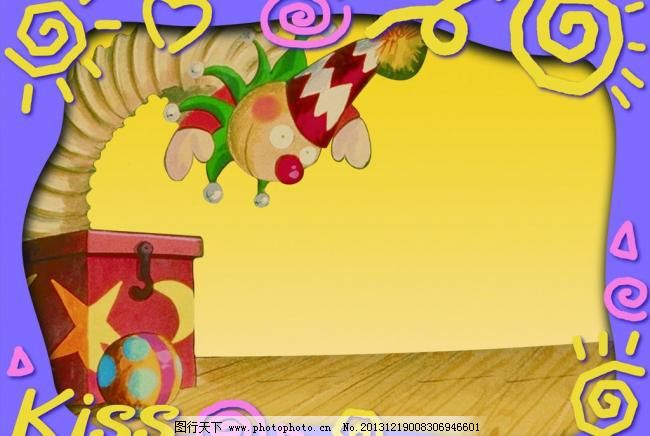 psd 广告设计模板 黄色背景 卡通太阳 礼物盒 太阳 小丑 心形 幼儿园