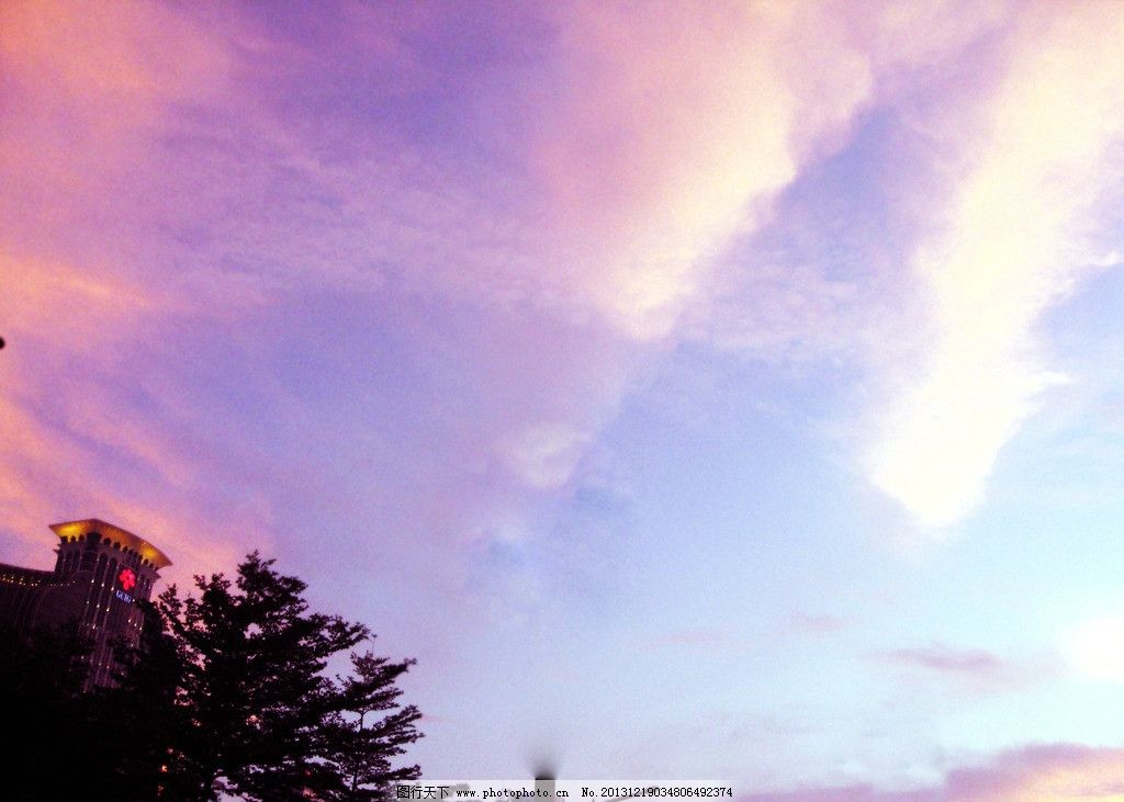 紫色天空 温馨 广角云 动感云 自然风景 自然景观 摄影