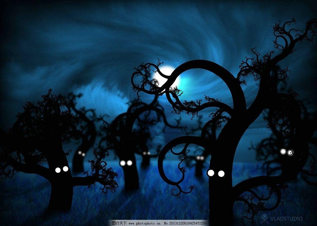 壁纸 万圣节 夜晚 万圣节树