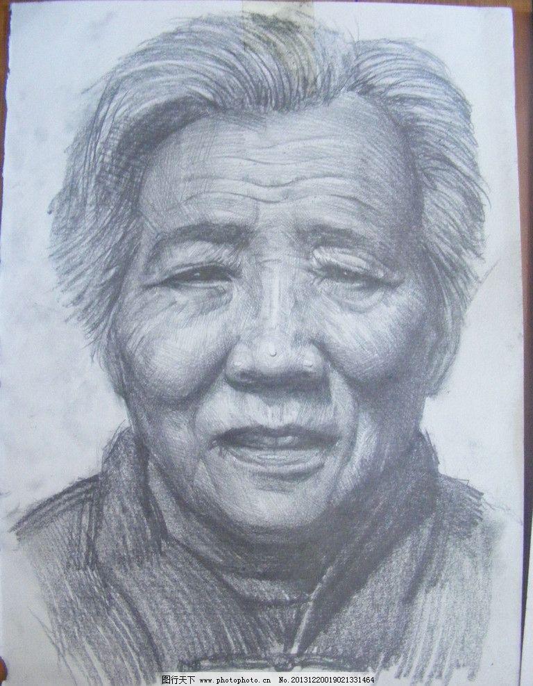 老年妇女素描头像图片