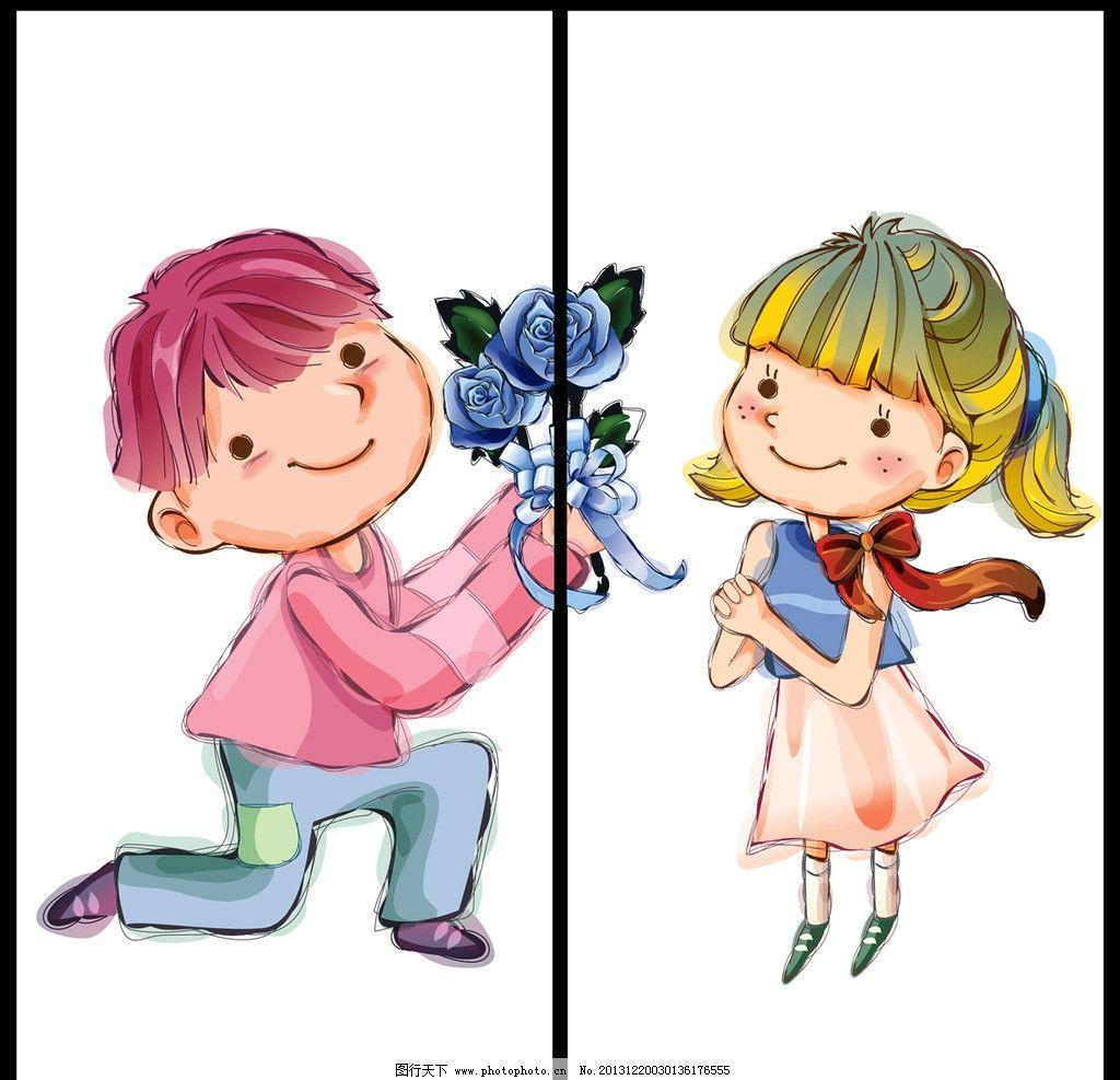 移门 屏风 卡通画 漫画 绘画 儿童画 水彩画 手绘 小男孩 送花 求婚