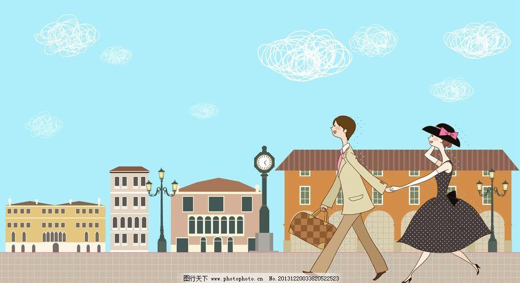 手拉手旅游的情侣 情侣 手拉手 城市 卡通城市 路灯 路牌 欧洲城市
