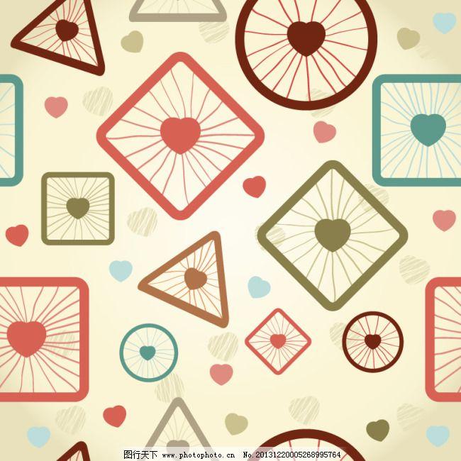 圆圈方块可爱心背景