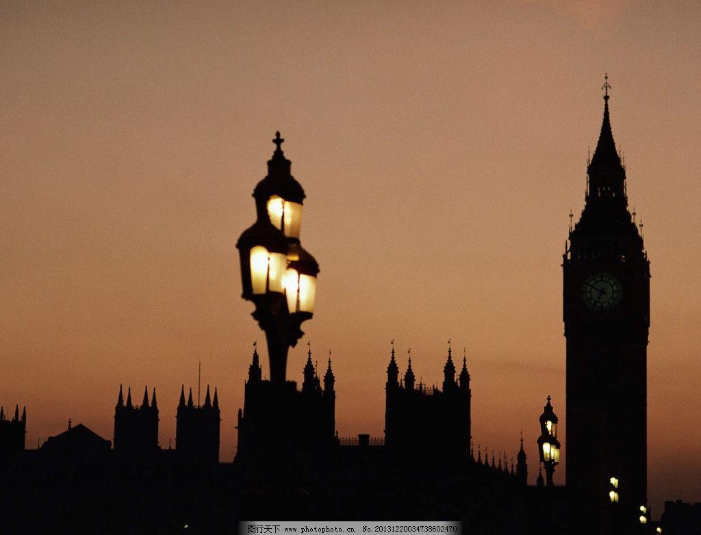 英国伦敦夜景 英国 伦敦 夜景 大笨钟 灯光 建筑 剪影 建筑景观 自然