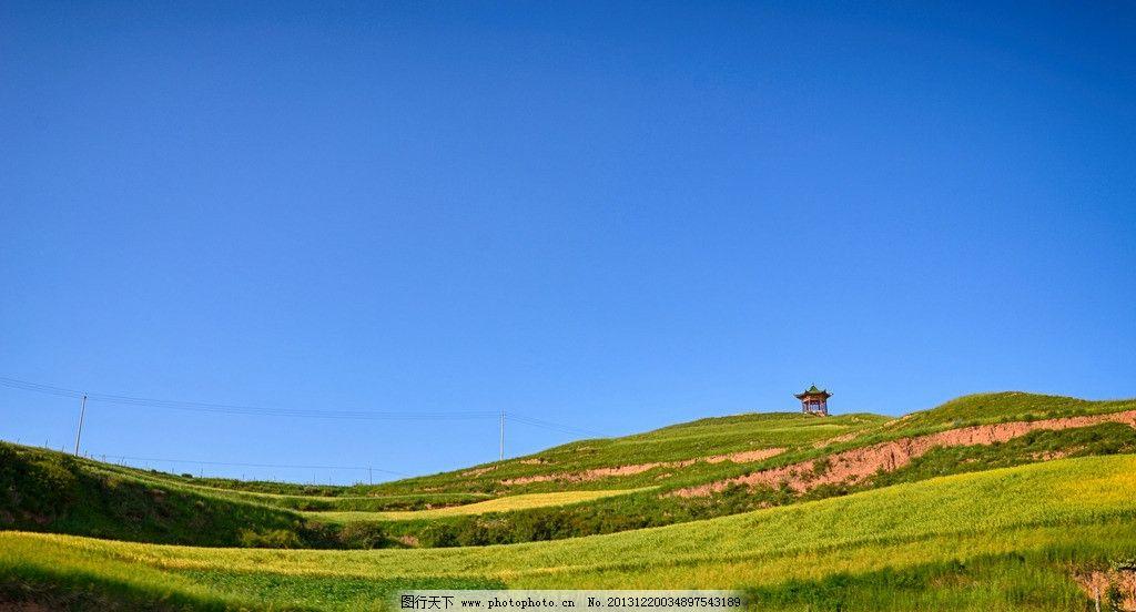 绿色小山丘 蓝天 绿地 草地 桌面 天空 自然风景 自然景观 摄影 300