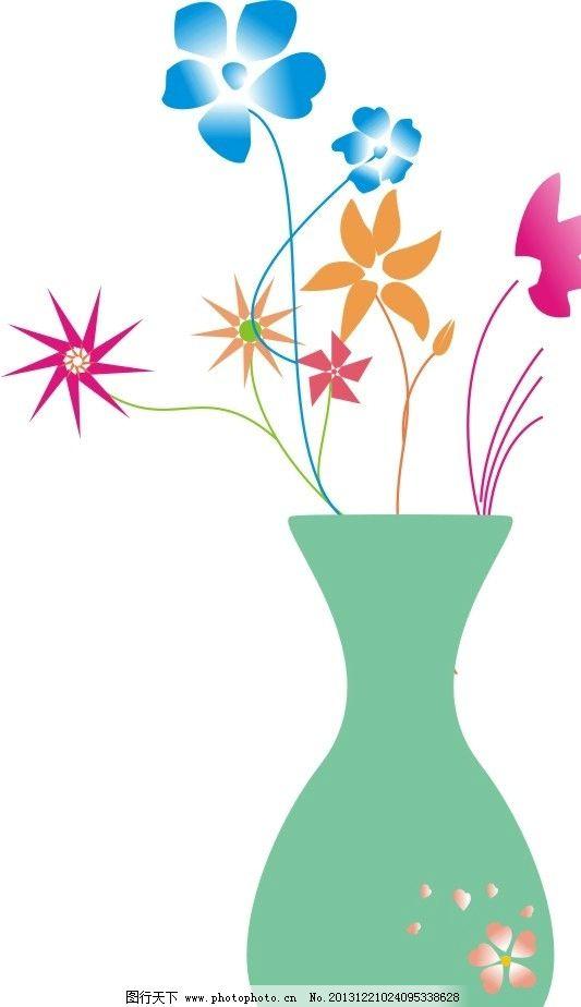 花瓶 花 绿色 彩色 小花朵 田园风光 自然景观 矢量 cdr