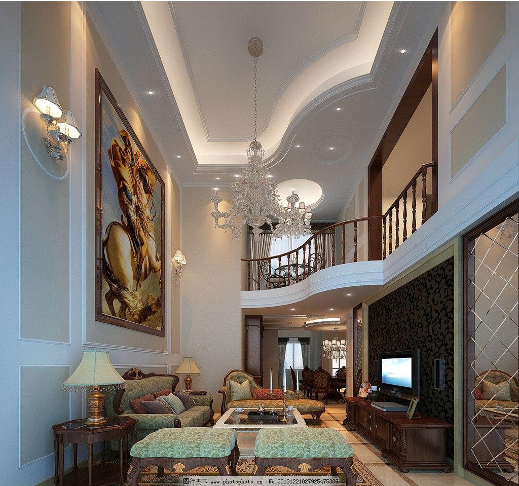 室内效果图 装修效果图 室内设计      美式风格 美式 欧式风格 跃层