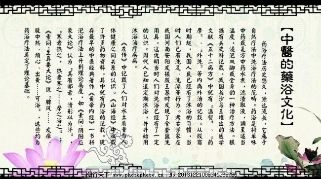 中医的药浴文化展板