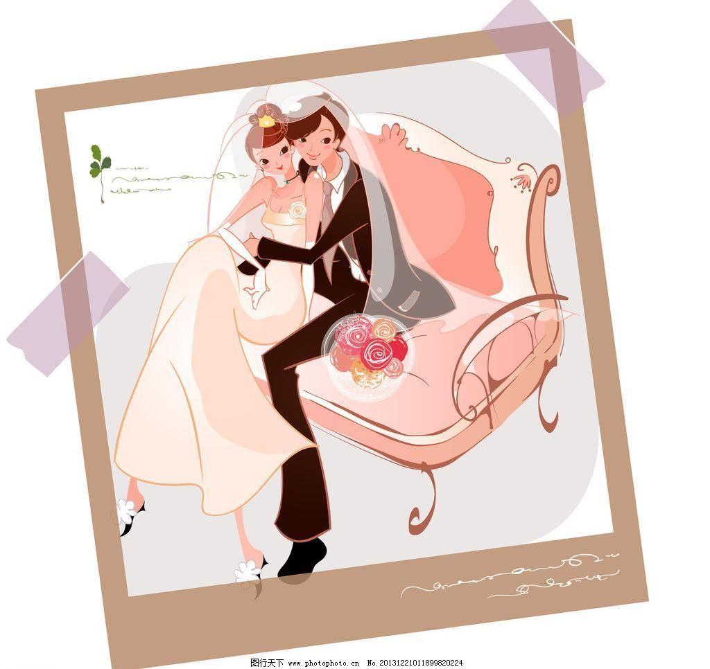 拍婚纱照的新郎新娘图片