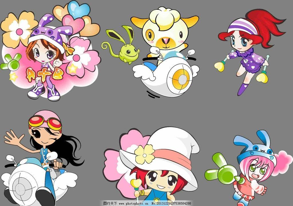 卡通人物 卡通 可爱 时尚女孩 时尚 花朵 卡通山羊 粉色 矢量图 矢量