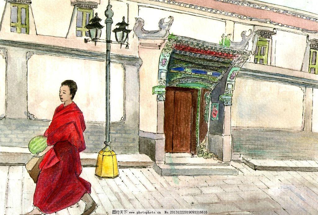 塔尔寺 青海 旅游插画 水彩 原创 纯美术 绘画书法 文化艺术 设计 300