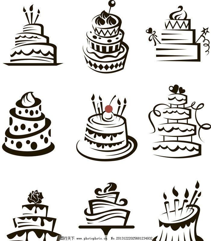 线条蛋糕 生日蛋糕 餐饮 手绘 餐饮图标 装饰 矢量