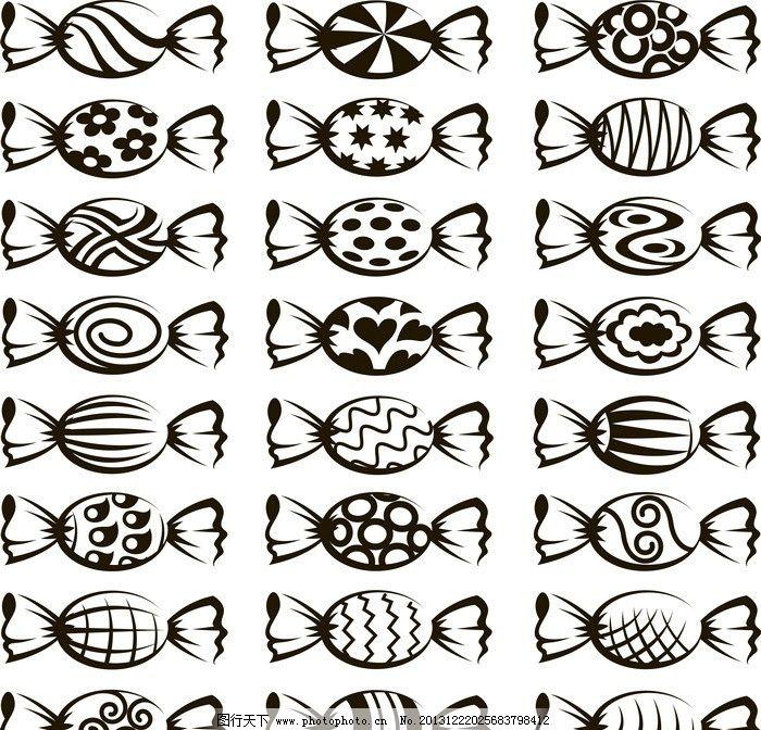 冰糖 糖果 餐饮 手绘 线条 餐饮图标 装饰 矢量