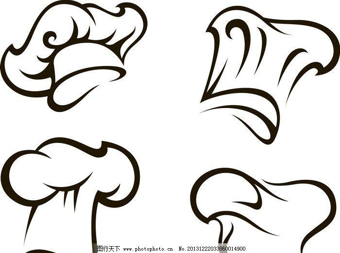 厨师帽 餐饮 手绘 线条 餐饮图标 图标 装饰 设计 矢量其他 矢量素材