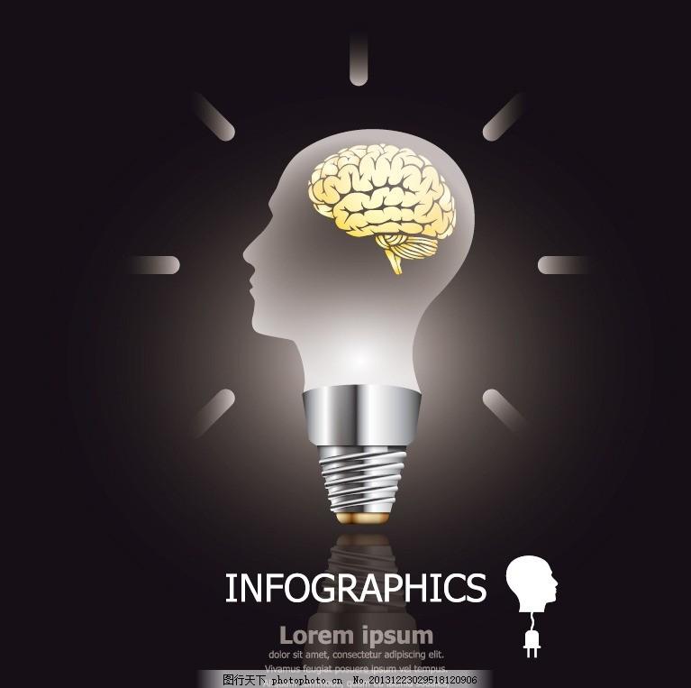创意设计 人脑 思维 思想 电灯 灯泡 矢量 广告设计矢量素材