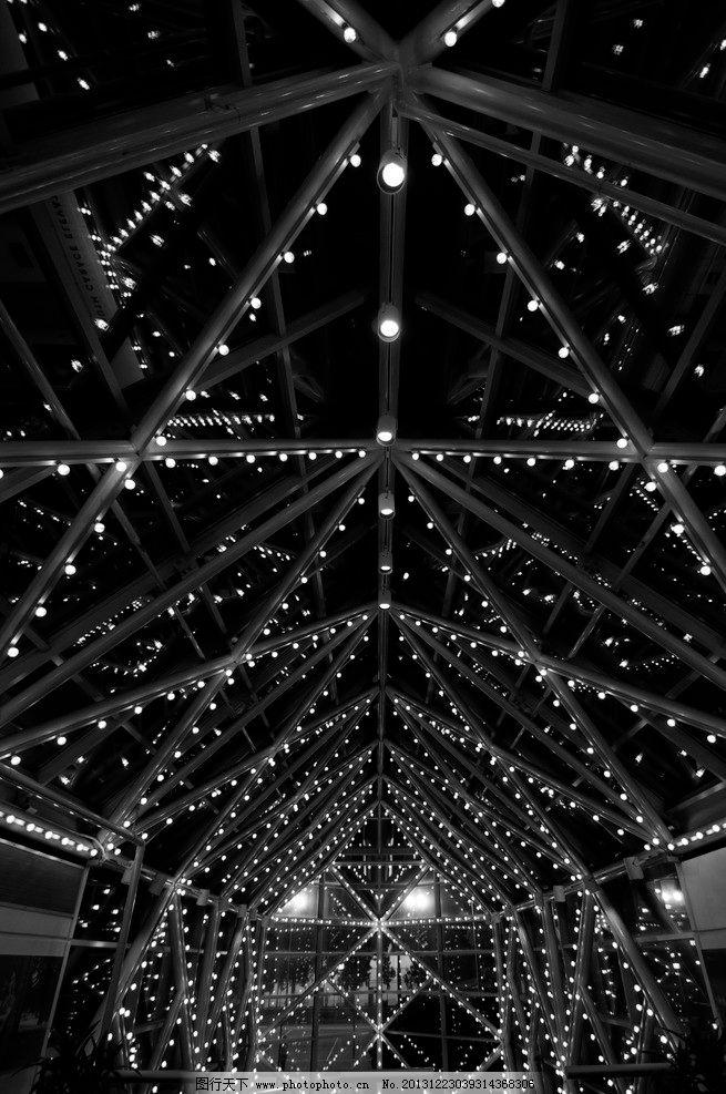 室内灯光 灯效 照明 顶要 结构 房顶 屋顶 建筑 灯光 黑白 室内 灯光