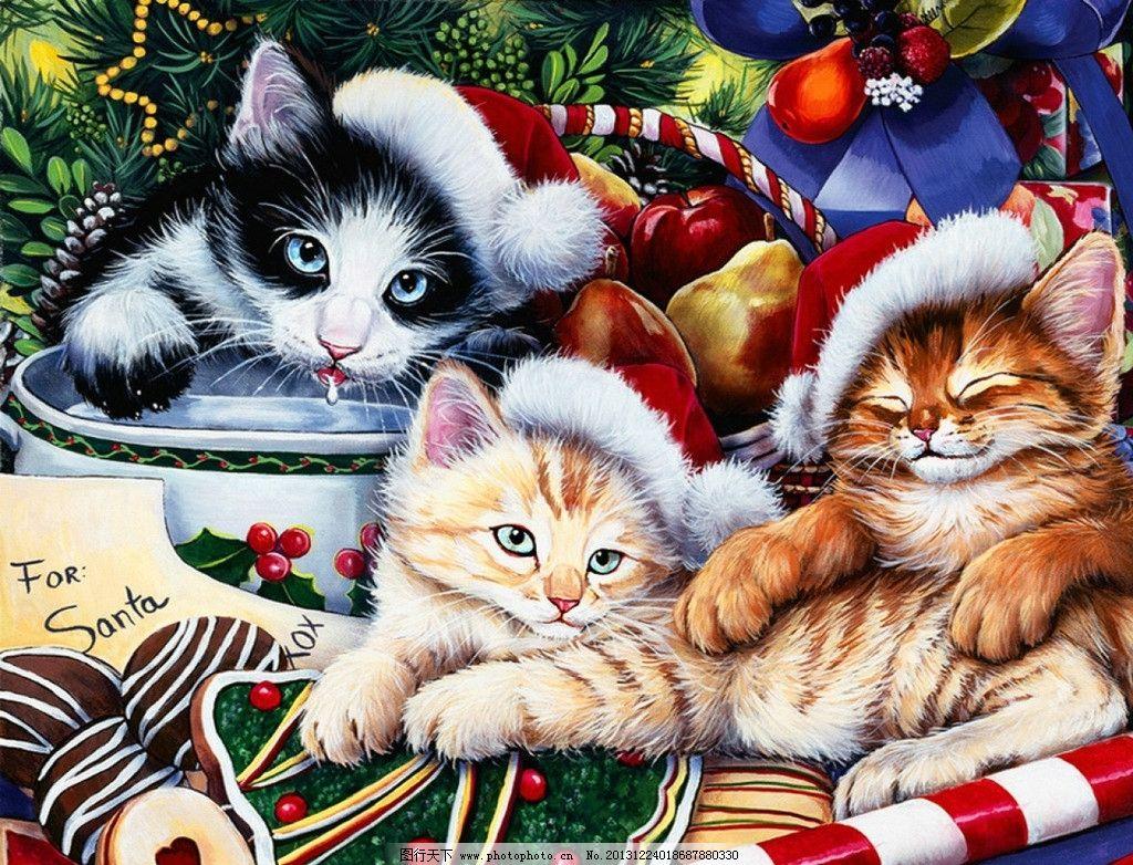 国外手绘猫咪 圣诞 圣诞树 猫咪 牛奶 圣诞帽 其他 动漫动画 设计 72