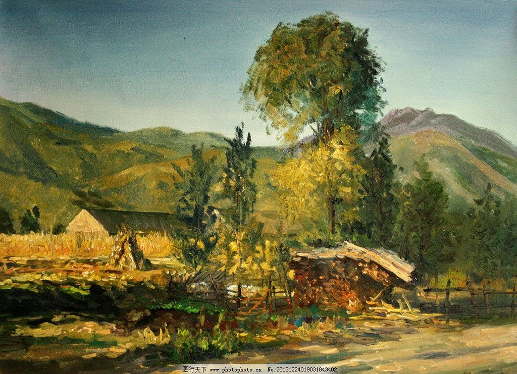 山村景色 美術 油畫 風景畫 山嶺 山村 房屋 農家 莊稼 村道 樹木
