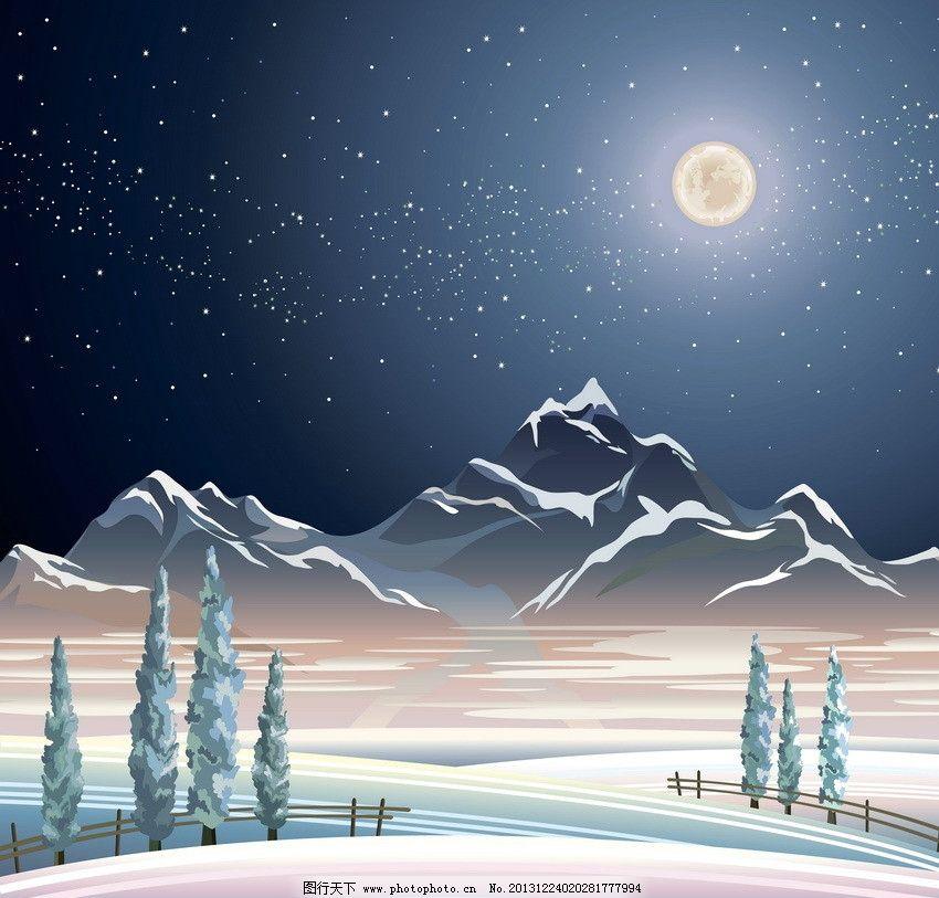 雪夜风景图片