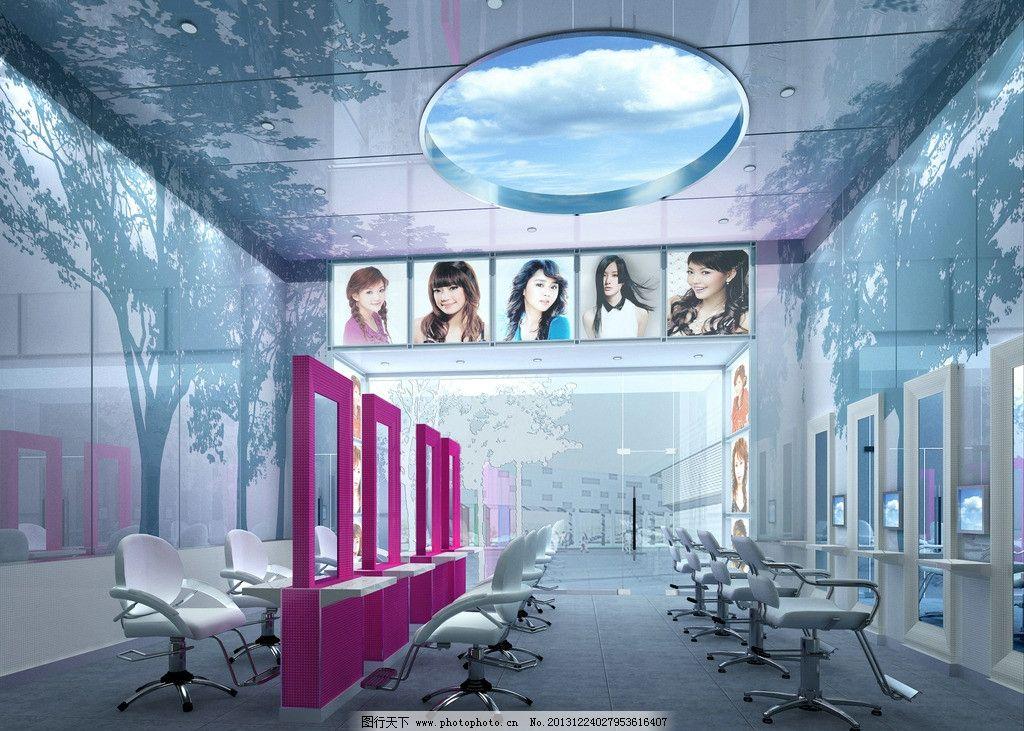 理发店设计 美容 美发 3d作品 室内设计 装潢 背景墙 现代