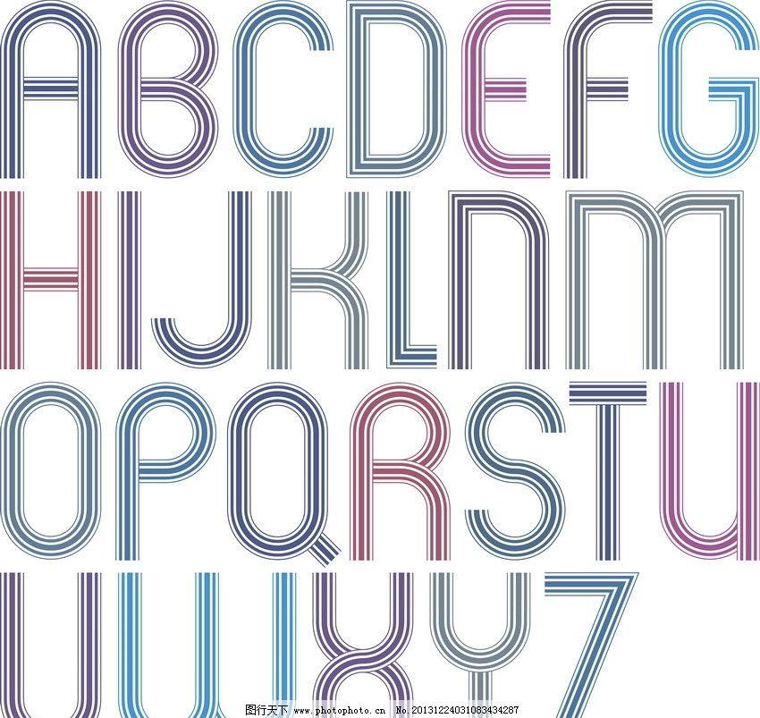 线条字母 线条 可爱 英文字母 字母 英文 拼音 创意字母 手绘 装饰